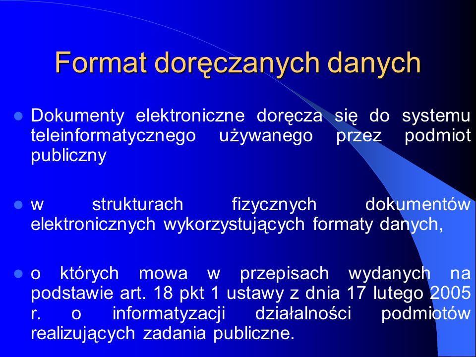 Format doręczanych danych