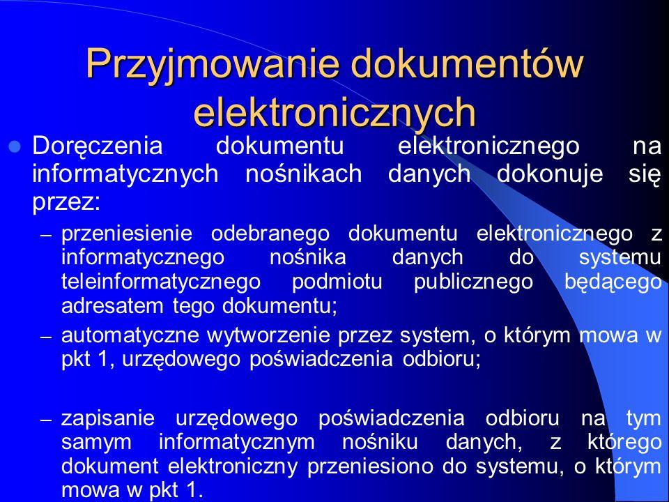 Przyjmowanie dokumentów elektronicznych