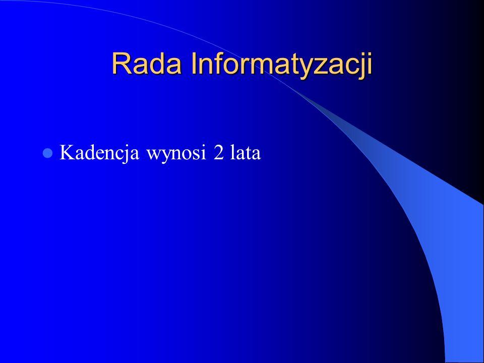 Rada Informatyzacji Kadencja wynosi 2 lata