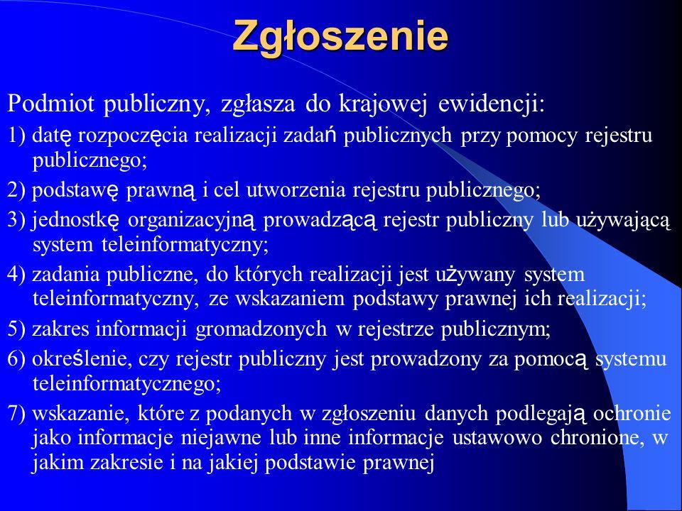 Zgłoszenie Podmiot publiczny, zgłasza do krajowej ewidencji: