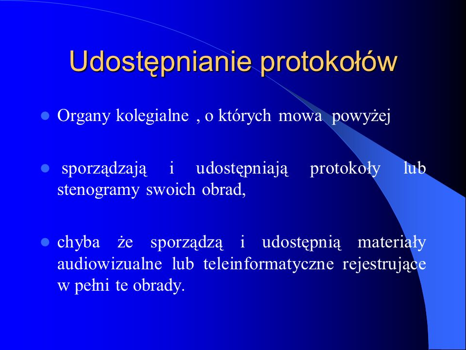 Udostępnianie protokołów