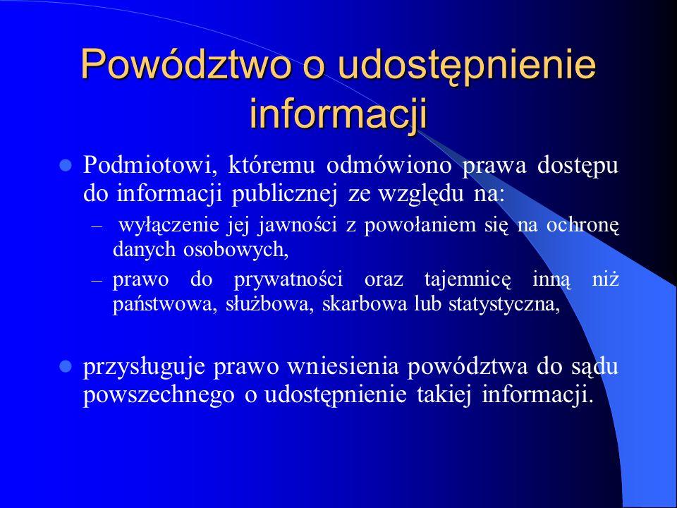 Powództwo o udostępnienie informacji