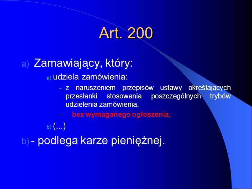 Art. 200 Zamawiający, który: - podlega karze pieniężnej.