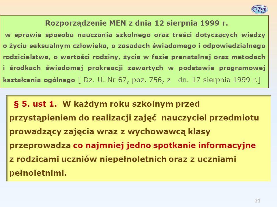Rozporządzenie MEN z dnia 12 sierpnia 1999 r.
