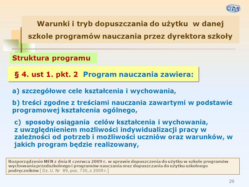 Warunki i tryb dopuszczania do użytku w danej szkole programów nauczania przez dyrektora szkoły