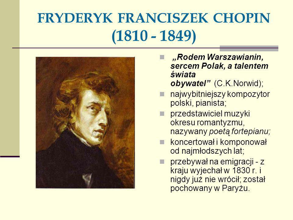 FRYDERYK FRANCISZEK CHOPIN (1810 - 1849)