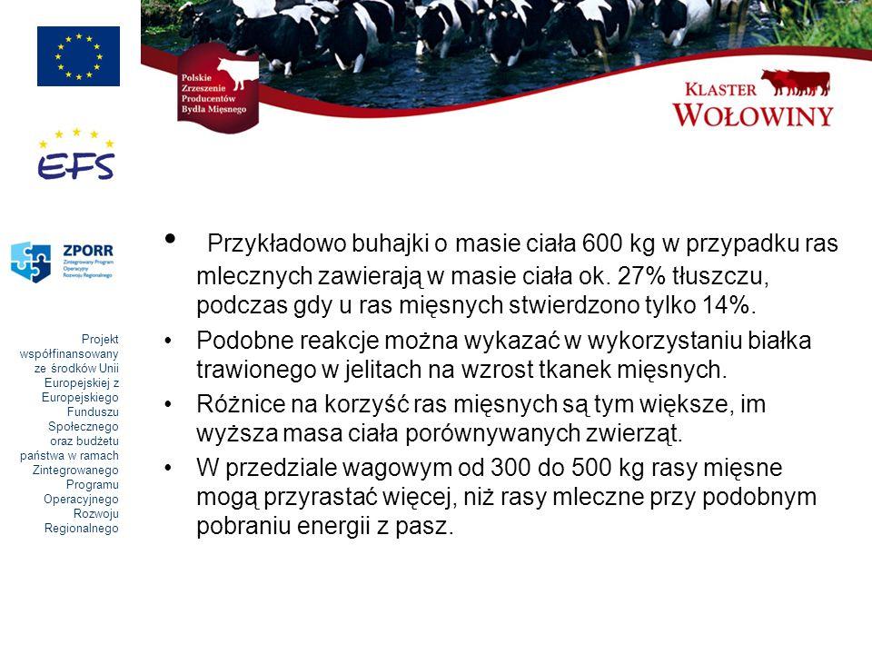 Przykładowo buhajki o masie ciała 600 kg w przypadku ras mlecznych zawierają w masie ciała ok. 27% tłuszczu, podczas gdy u ras mięsnych stwierdzono tylko 14%.