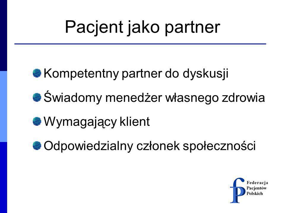 Pacjent jako partner Kompetentny partner do dyskusji
