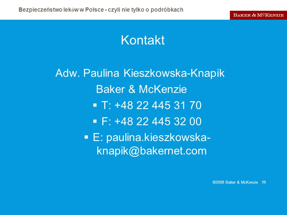 Kontakt Adw. Paulina Kieszkowska-Knapik Baker & McKenzie