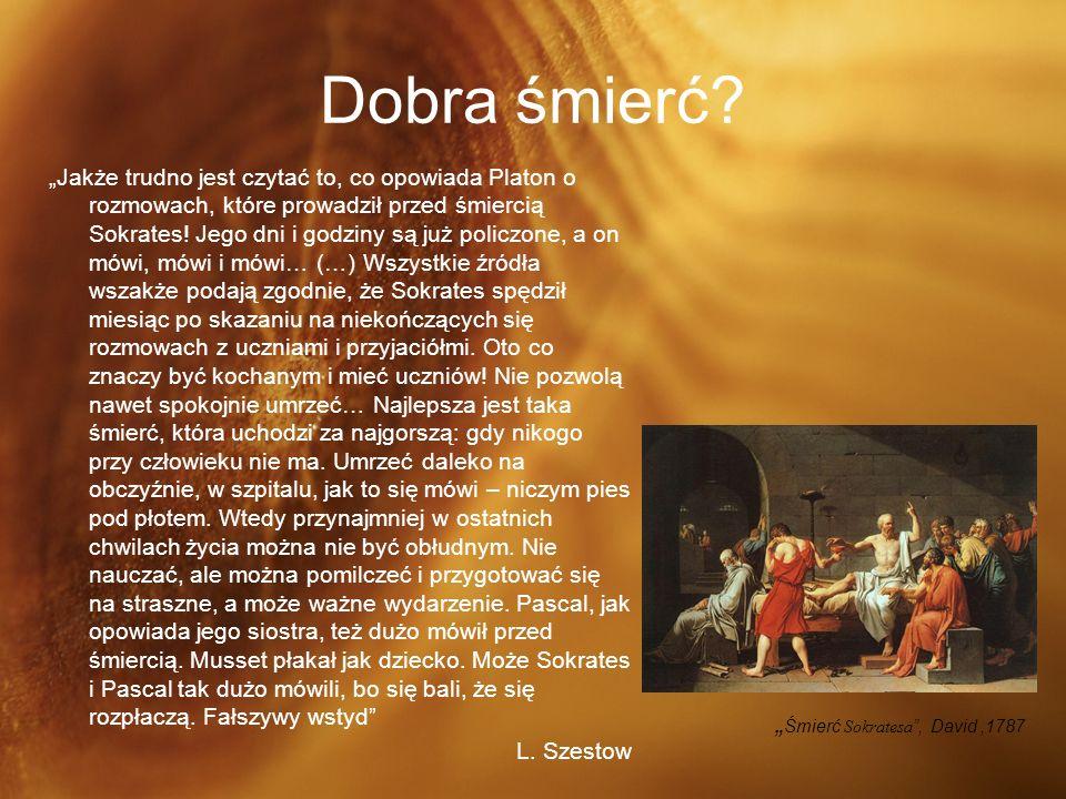 """Dobra śmierć """"Śmierć Sokratesa , David ,1787"""