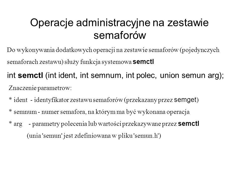 Operacje administracyjne na zestawie semaforów