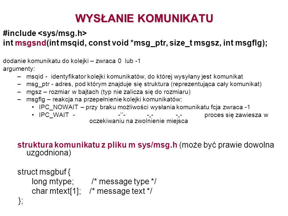WYSŁANIE KOMUNIKATU #include <sys/msg.h>