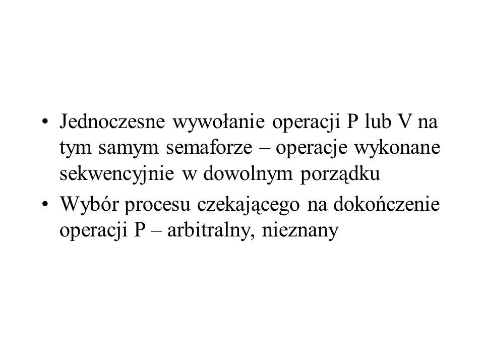 Jednoczesne wywołanie operacji P lub V na tym samym semaforze – operacje wykonane sekwencyjnie w dowolnym porządku