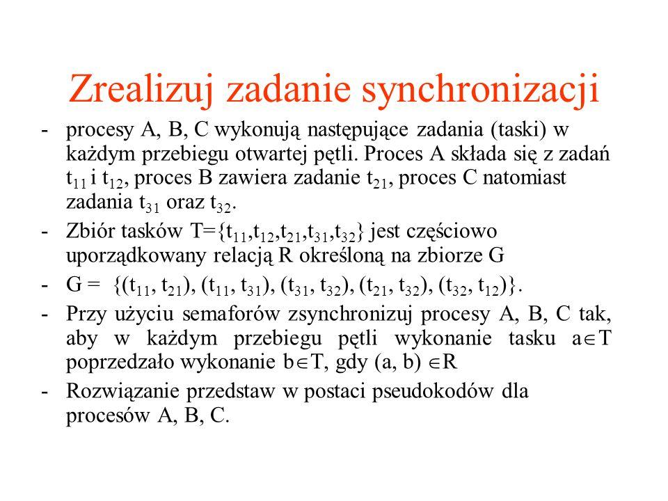 Zrealizuj zadanie synchronizacji