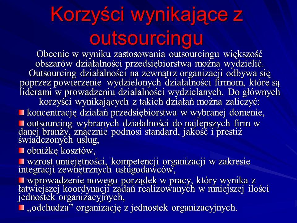 Korzyści wynikające z outsourcingu