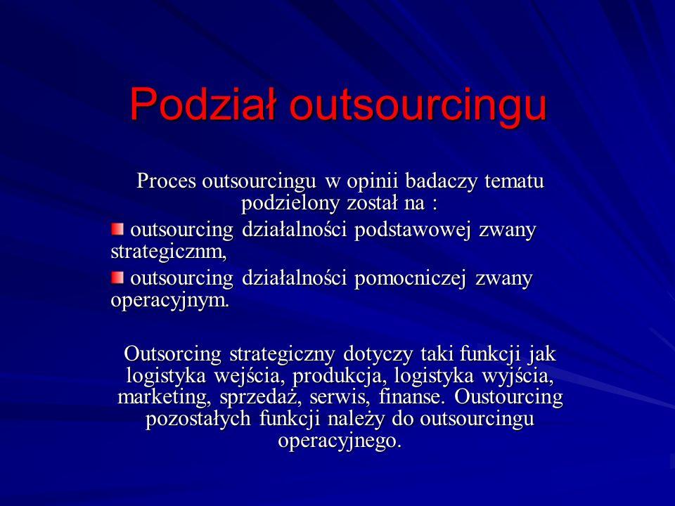 Proces outsourcingu w opinii badaczy tematu podzielony został na :