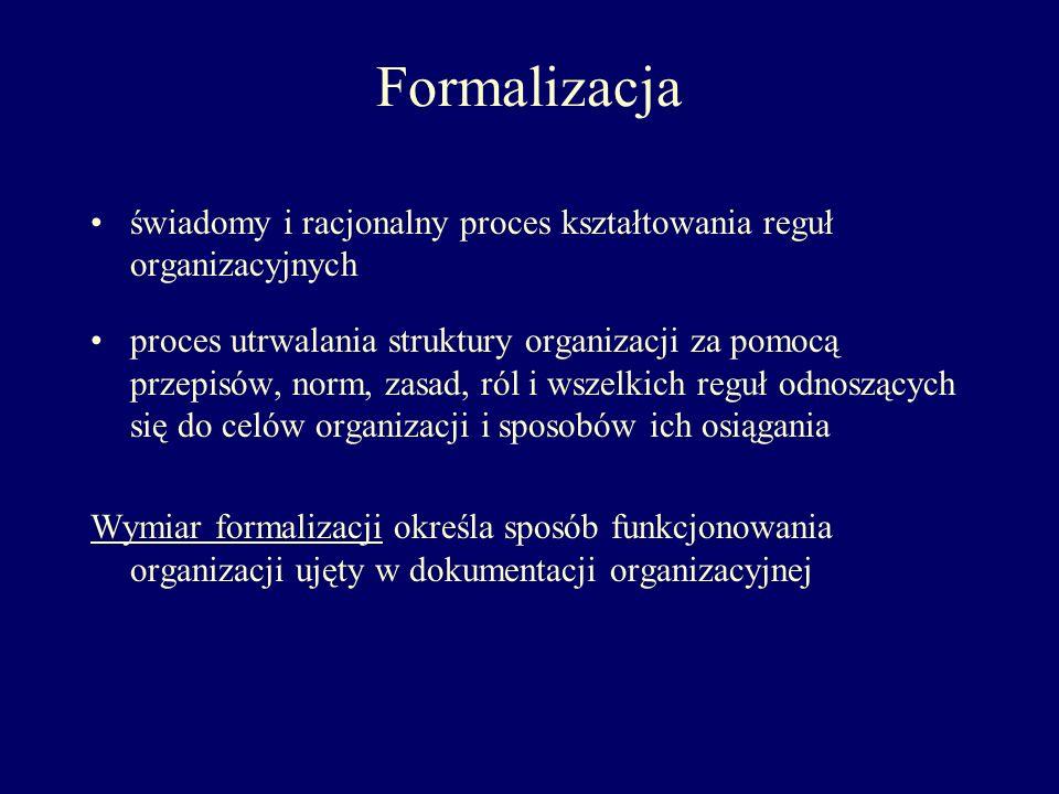 Formalizacja świadomy i racjonalny proces kształtowania reguł organizacyjnych.