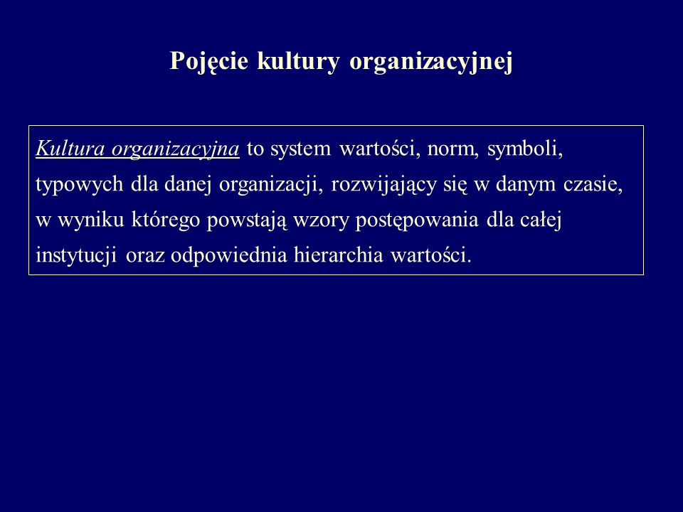 Pojęcie kultury organizacyjnej