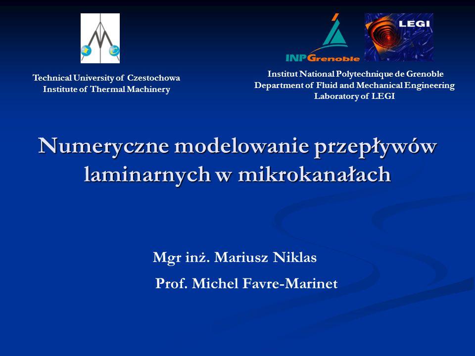Numeryczne modelowanie przepływów laminarnych w mikrokanałach