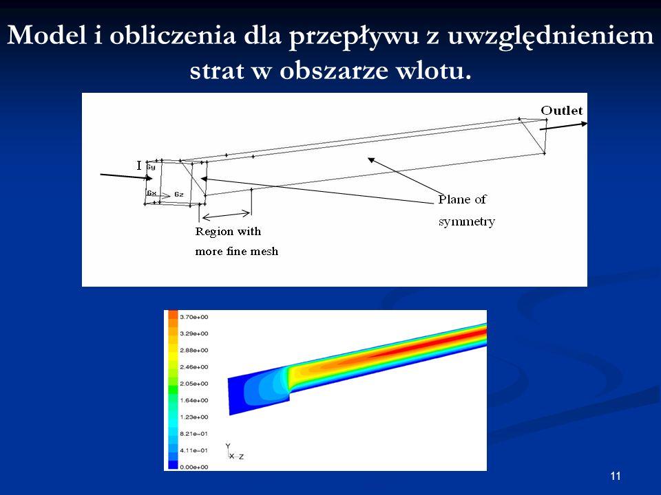 Model i obliczenia dla przepływu z uwzględnieniem strat w obszarze wlotu.