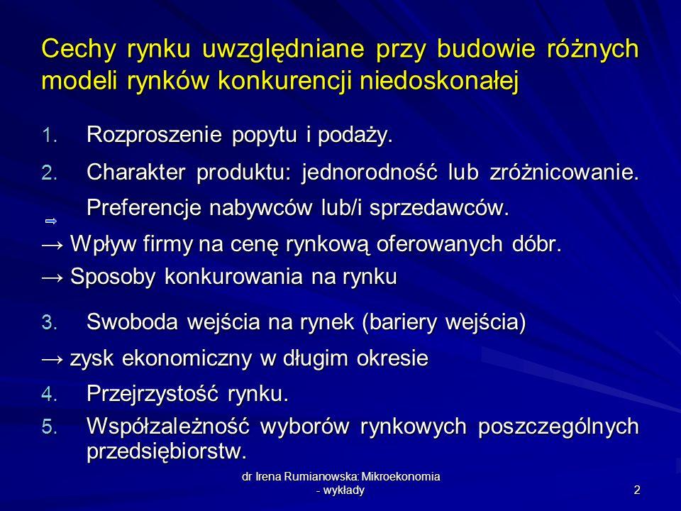 dr Irena Rumianowska: Mikroekonomia - wykłady
