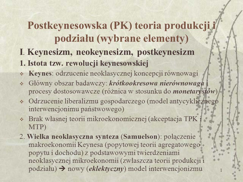 Postkeynesowska (PK) teoria produkcji i podziału (wybrane elementy)