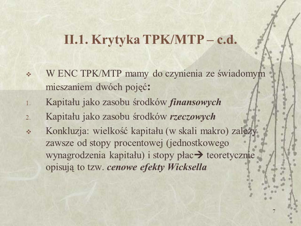 II.1. Krytyka TPK/MTP – c.d. W ENC TPK/MTP mamy do czynienia ze świadomym mieszaniem dwóch pojęć: Kapitału jako zasobu środków finansowych.