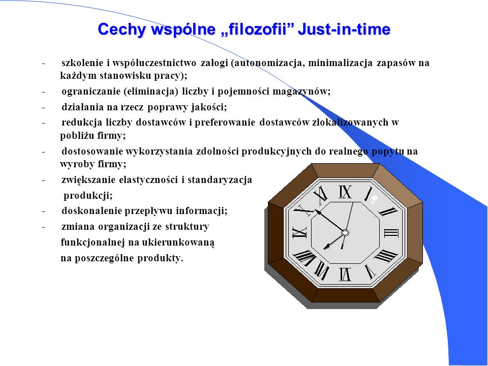 "Cechy wspólne ""filozofii Just-in-time"