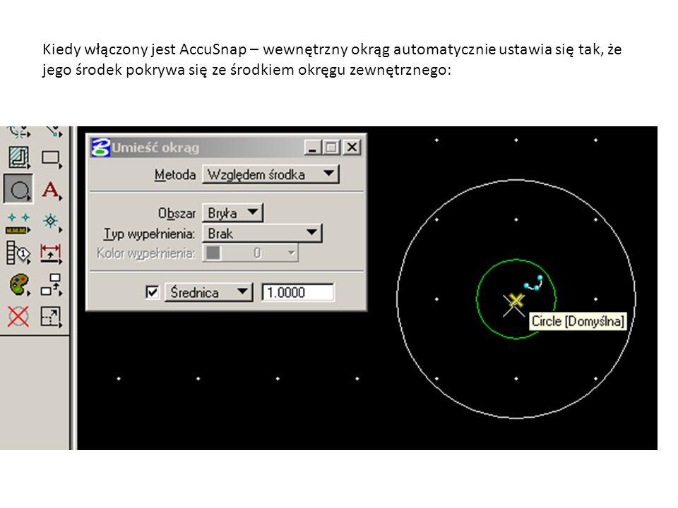 Kiedy włączony jest AccuSnap – wewnętrzny okrąg automatycznie ustawia się tak, że jego środek pokrywa się ze środkiem okręgu zewnętrznego: