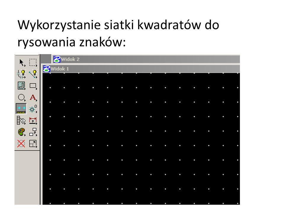 Wykorzystanie siatki kwadratów do rysowania znaków: