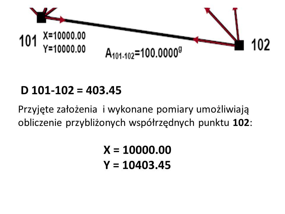 D 101-102 = 403.45 Przyjęte założenia i wykonane pomiary umożliwiają obliczenie przybliżonych współrzędnych punktu 102: