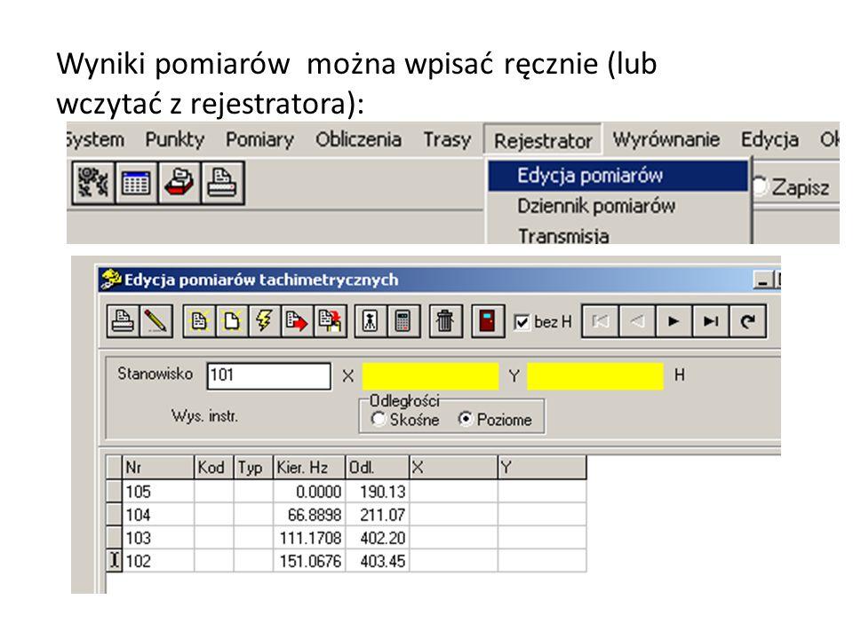 Wyniki pomiarów można wpisać ręcznie (lub wczytać z rejestratora):