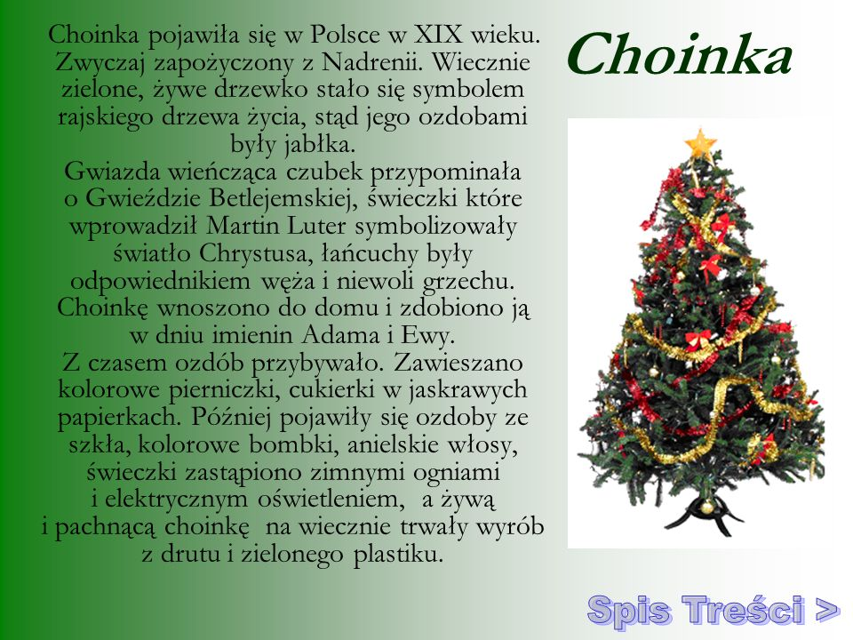 Choinka Spis Treści >