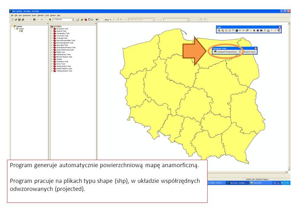Program generuje automatycznie powierzchniową mapę anamorficzną.