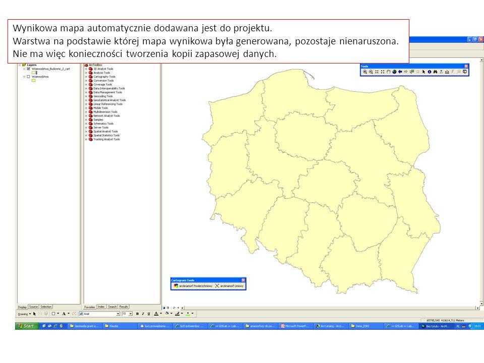 Wynikowa mapa automatycznie dodawana jest do projektu.
