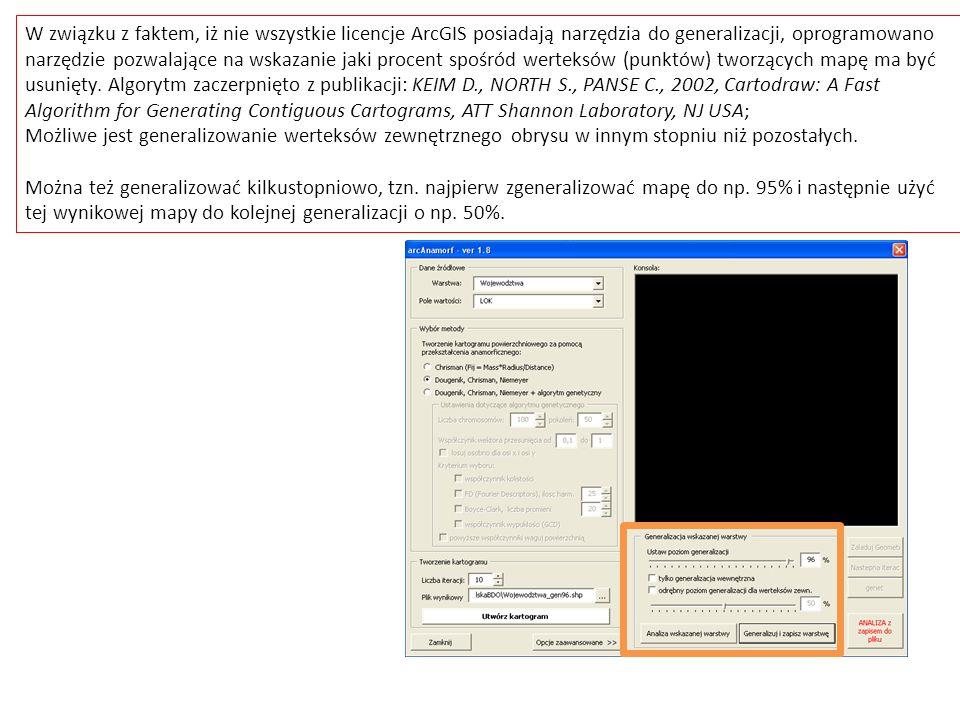 W związku z faktem, iż nie wszystkie licencje ArcGIS posiadają narzędzia do generalizacji, oprogramowano