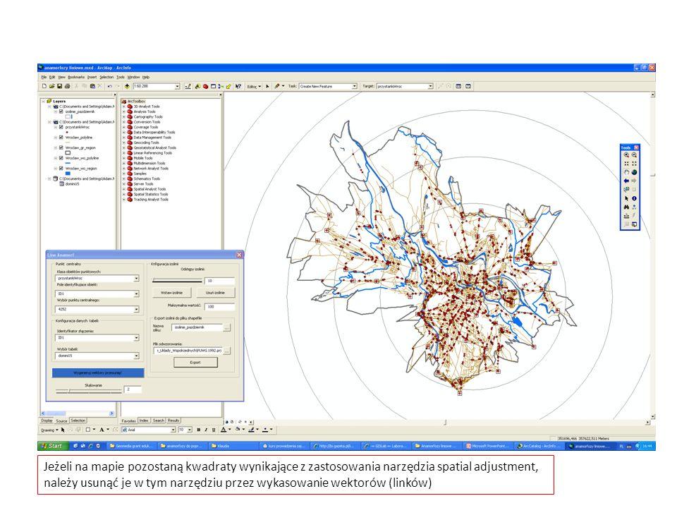 Jeżeli na mapie pozostaną kwadraty wynikające z zastosowania narzędzia spatial adjustment,