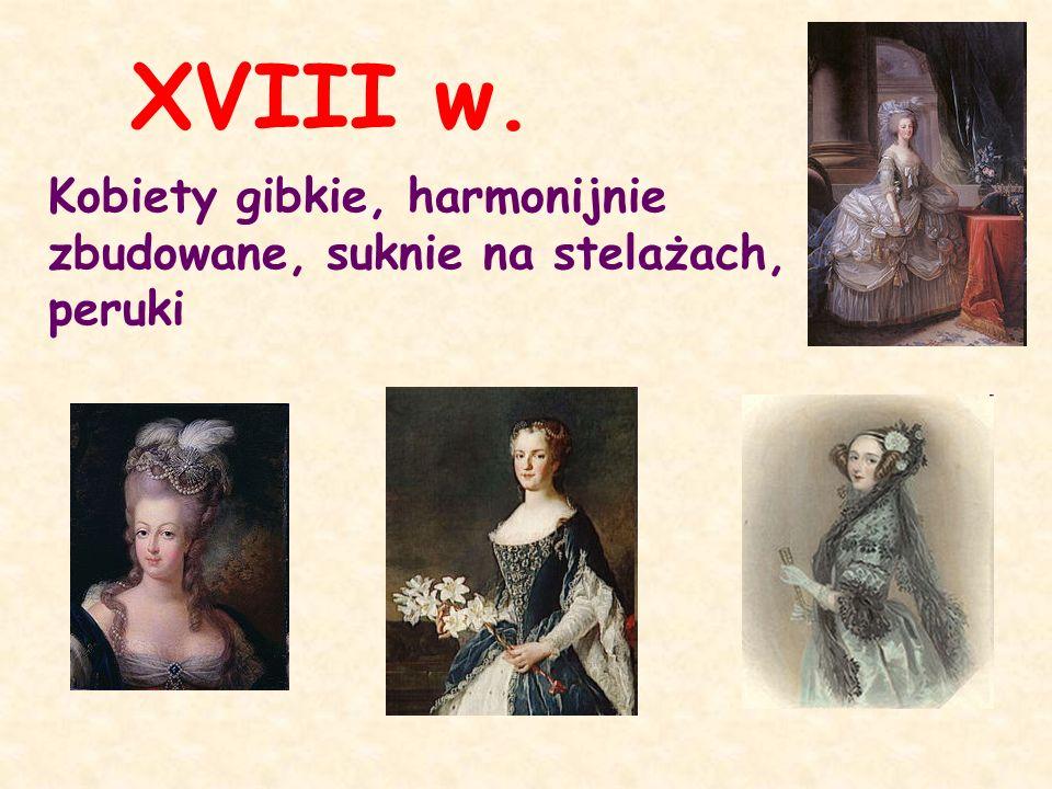 XVIII w. Kobiety gibkie, harmonijnie zbudowane, suknie na stelażach, peruki