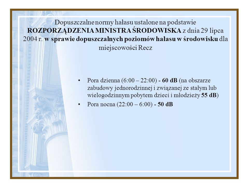 Dopuszczalne normy hałasu ustalone na podstawie ROZPORZĄDZENIA MINISTRA ŚRODOWISKA z dnia 29 lipca 2004 r. w sprawie dopuszczalnych poziomów hałasu w środowisku dla miejscowości Recz