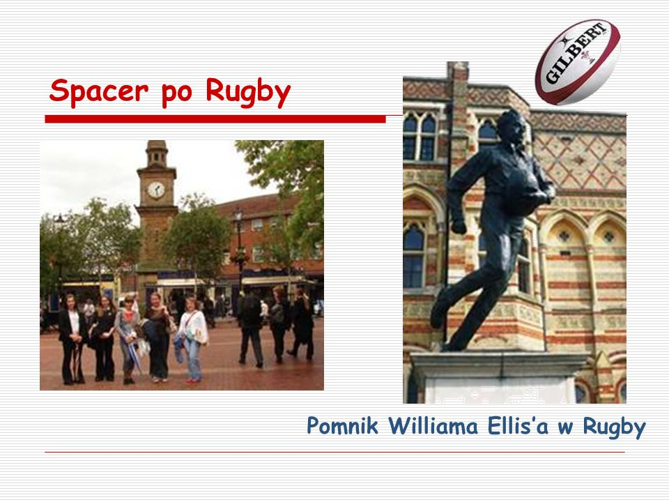 Spacer po Rugby Pomnik Williama Ellis'a w Rugby
