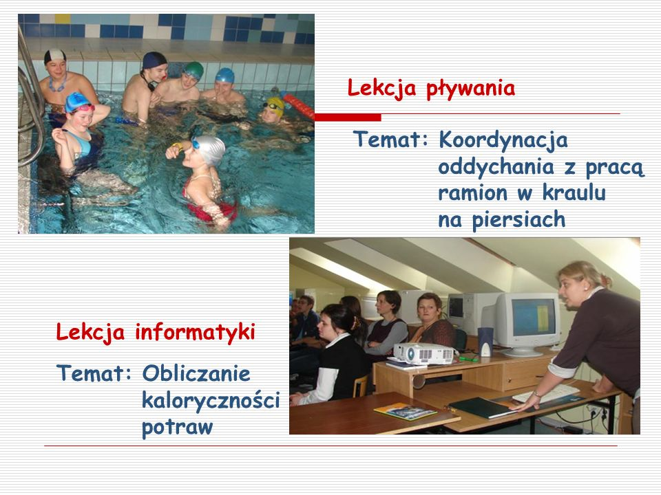 Lekcja pływania Temat: Koordynacja oddychania z pracą ramion w kraulu na piersiach.