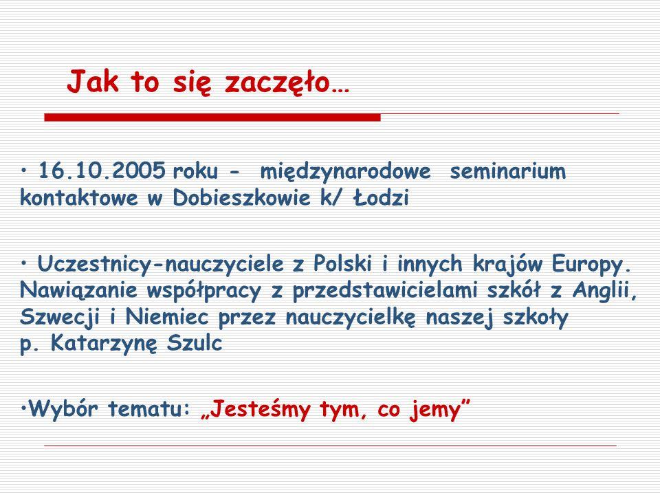 Jak to się zaczęło… 16.10.2005 roku - międzynarodowe seminarium kontaktowe w Dobieszkowie k/ Łodzi.