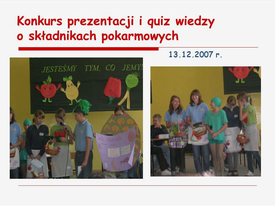 Konkurs prezentacji i quiz wiedzy o składnikach pokarmowych