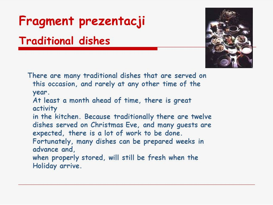 Fragment prezentacji Traditional dishes