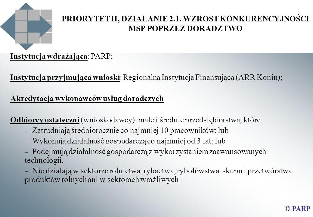 Instytucja wdrażająca: PARP;