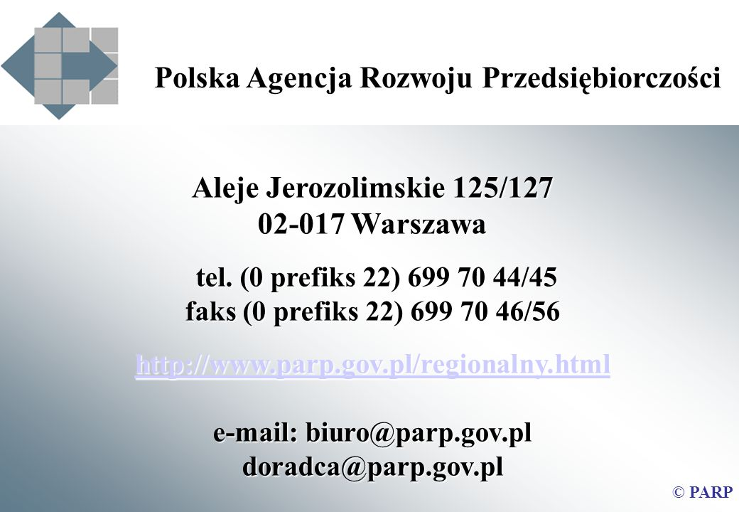 e-mail: biuro@parp.gov.pl