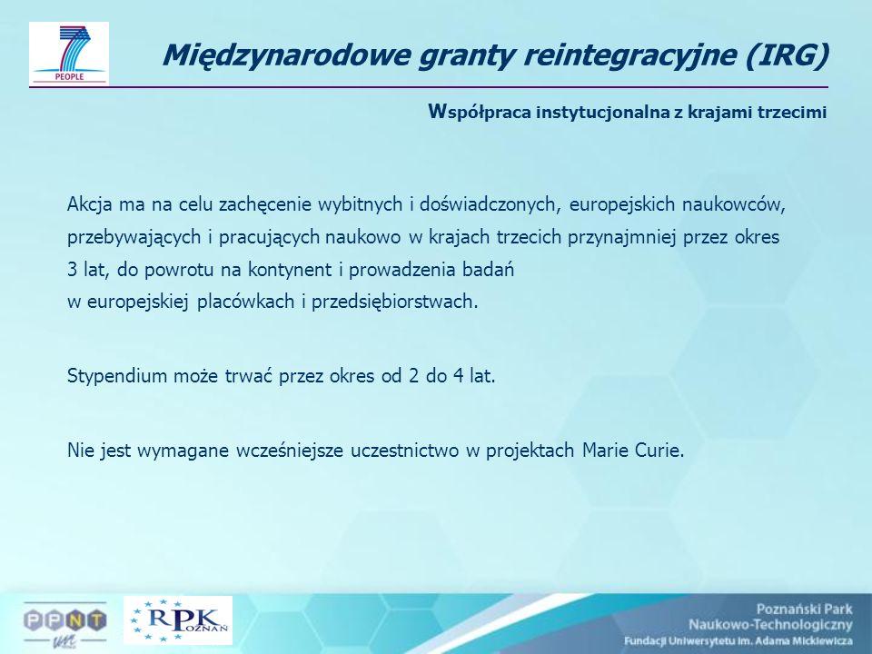 Międzynarodowe granty reintegracyjne (IRG) Współpraca instytucjonalna z krajami trzecimi