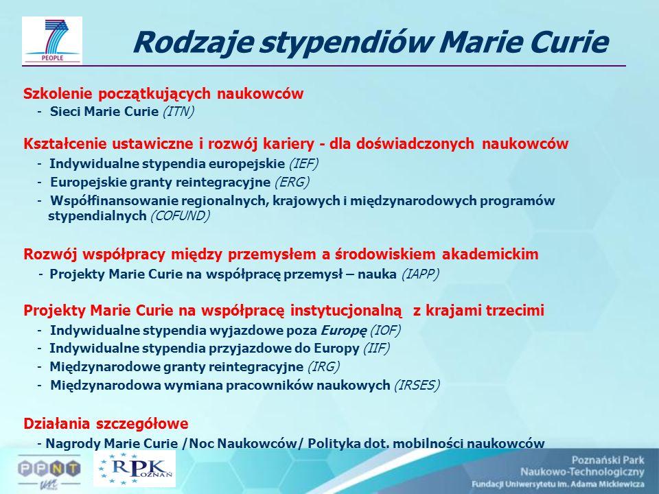 Rodzaje stypendiów Marie Curie