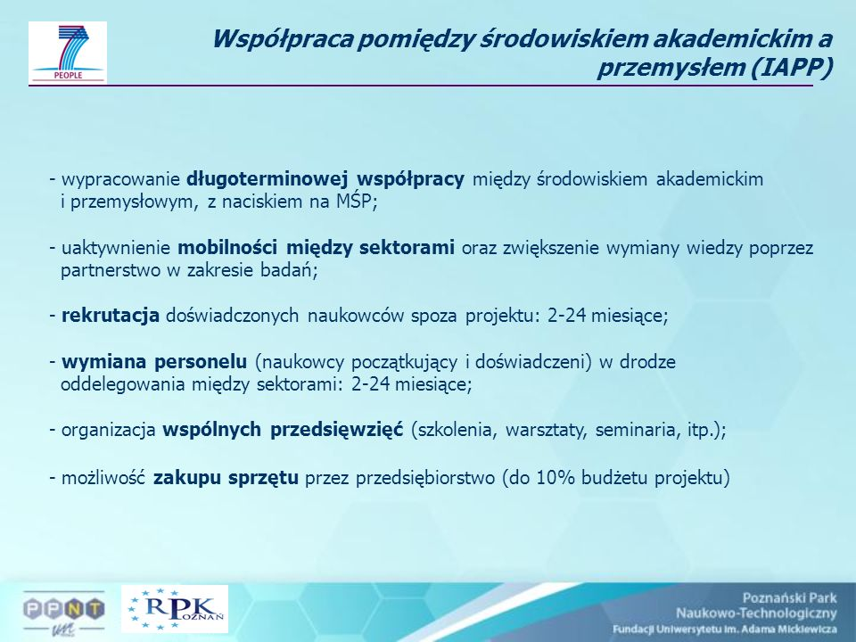 Współpraca pomiędzy środowiskiem akademickim a przemysłem (IAPP)