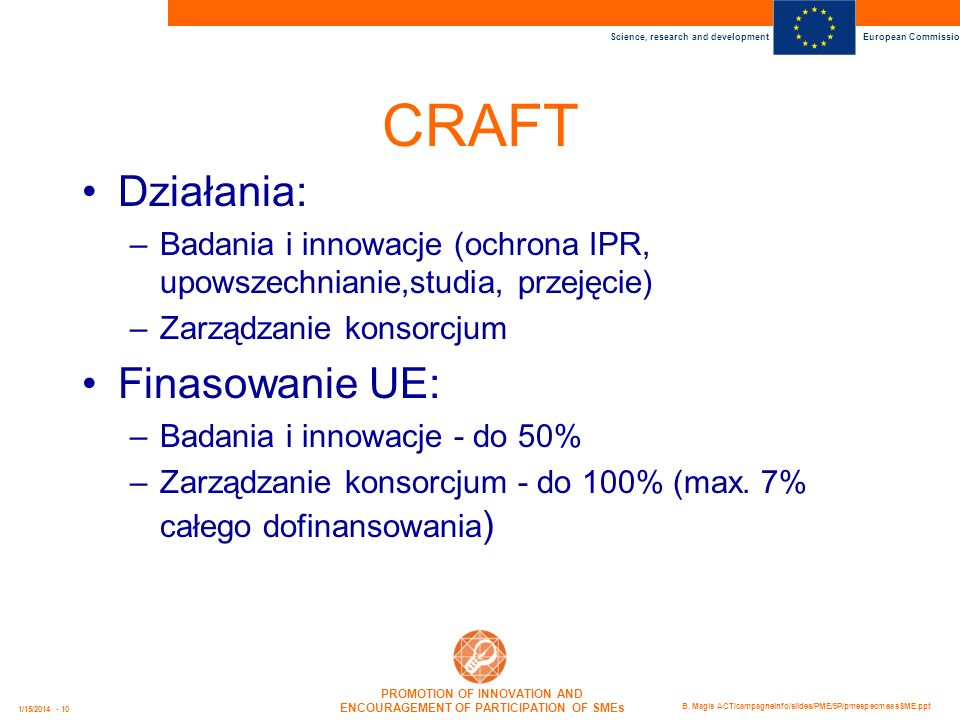 CRAFT Działania: Finasowanie UE: